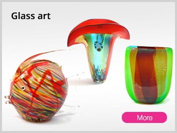 colorful Glass art vases plates sculptures & objects