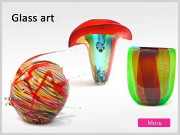 Colorful Glass art vases plates, colourful sculptures & objects, decoration