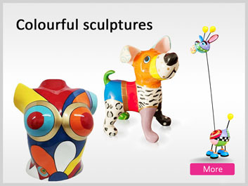 Colorful happy joy full art sculptures colourful decoration objects and figurines modern abstract statues